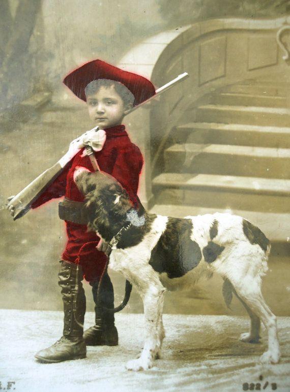 Antique dog postcard  Little boy child hunter by LizKnijnenburg