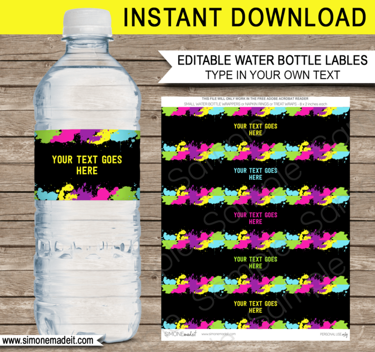 Neon Glow Party Water Bottle Labels template Birthday