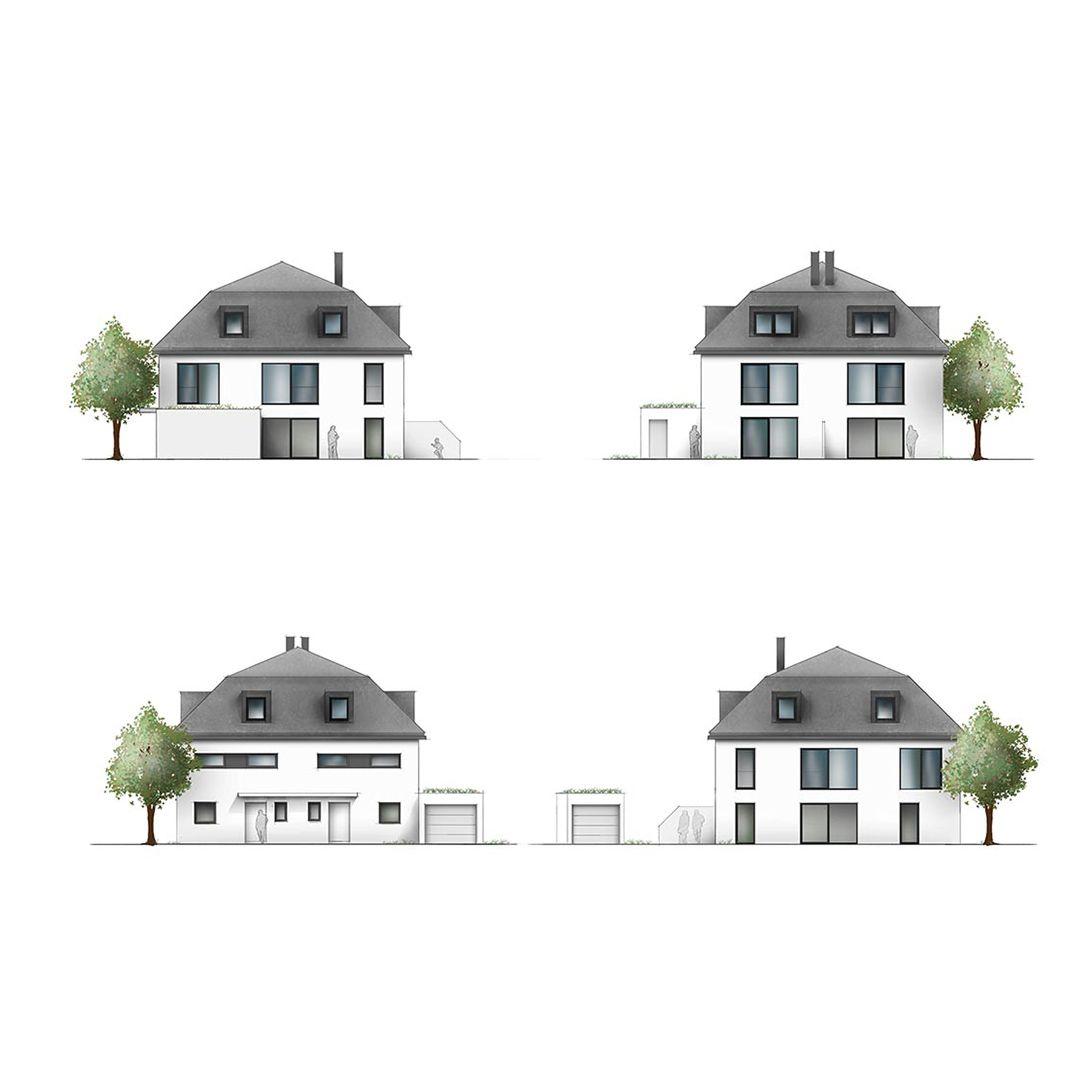 Innenarchitektur wohnzimmer grundrisse ansichten einfamilienhaus architekturvisualisierung collage