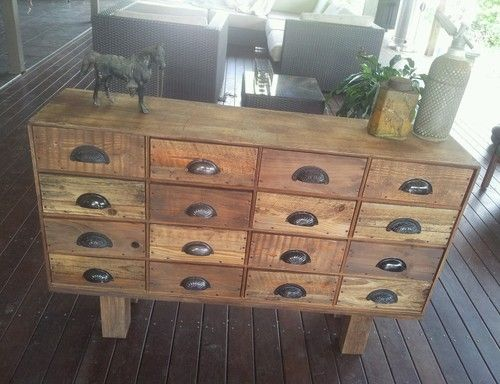 Handmade Rustic Vintage Industrial Pigeon Hole Sideboard Buffet Chest Of Drawers
