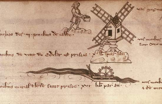 Drawings of a windmill and a waterwheel French manuscript