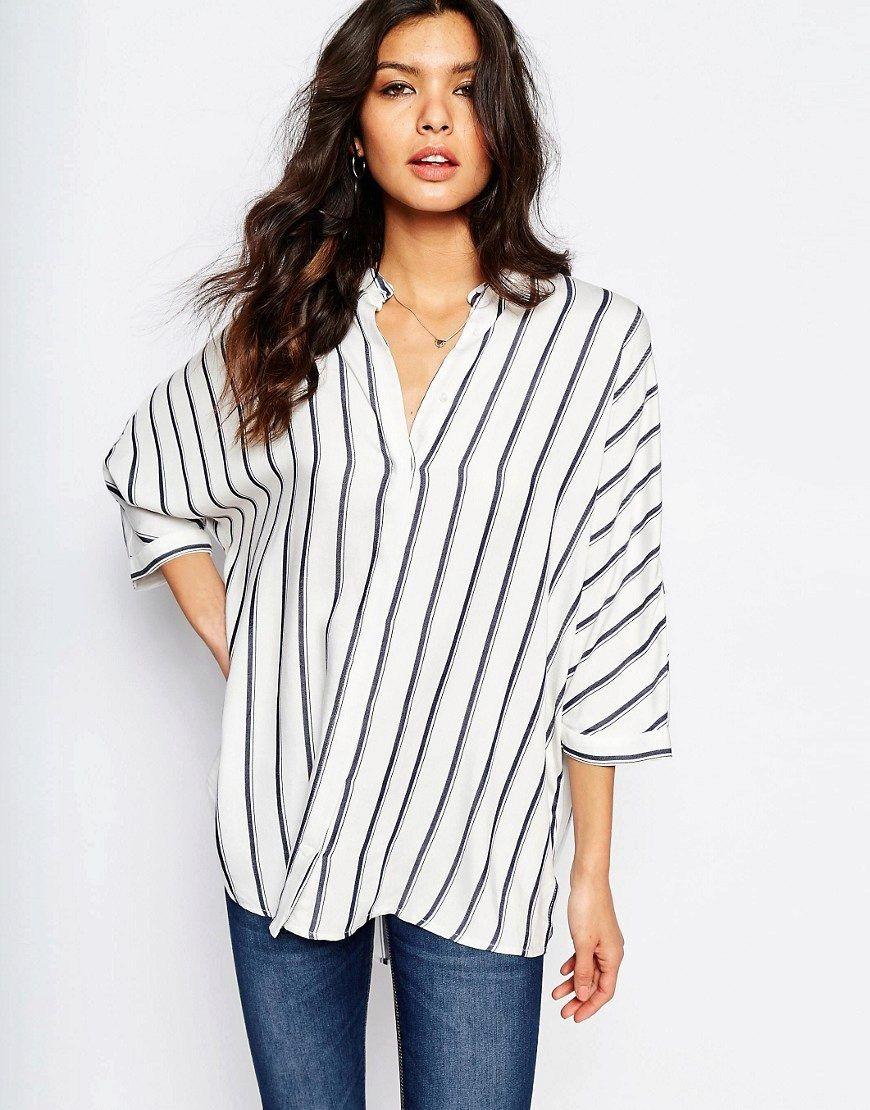 389c636819b Рубашка в полоску женская (130 фото)  длинная