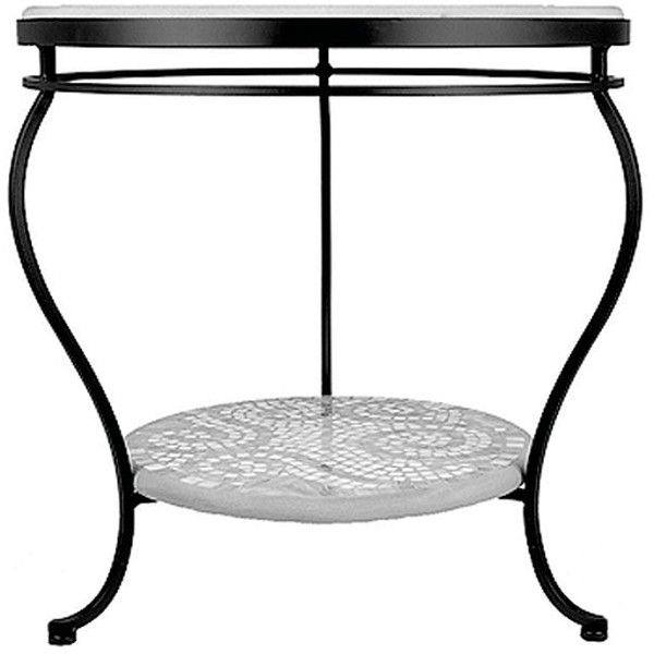 """Arenal Double-Tiered Side Table - Espresso, 24"""" Round ($749) ❤ liked on Polyvore featuring home, outdoors, patio furniture, outdoor tables, round outdoor table, mosaic stained glass, round end tables, geometric side table and circular side table"""