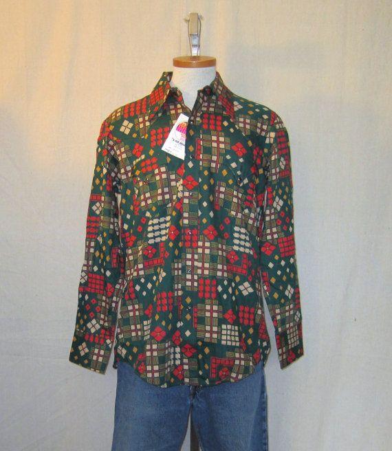 Vintage Deadstock 70s GEOMETRIC WESTERN PRINT Snap Button Miller Ski Cotton Rayon Hip Rad Medium Amazing Longsleeve Shirt