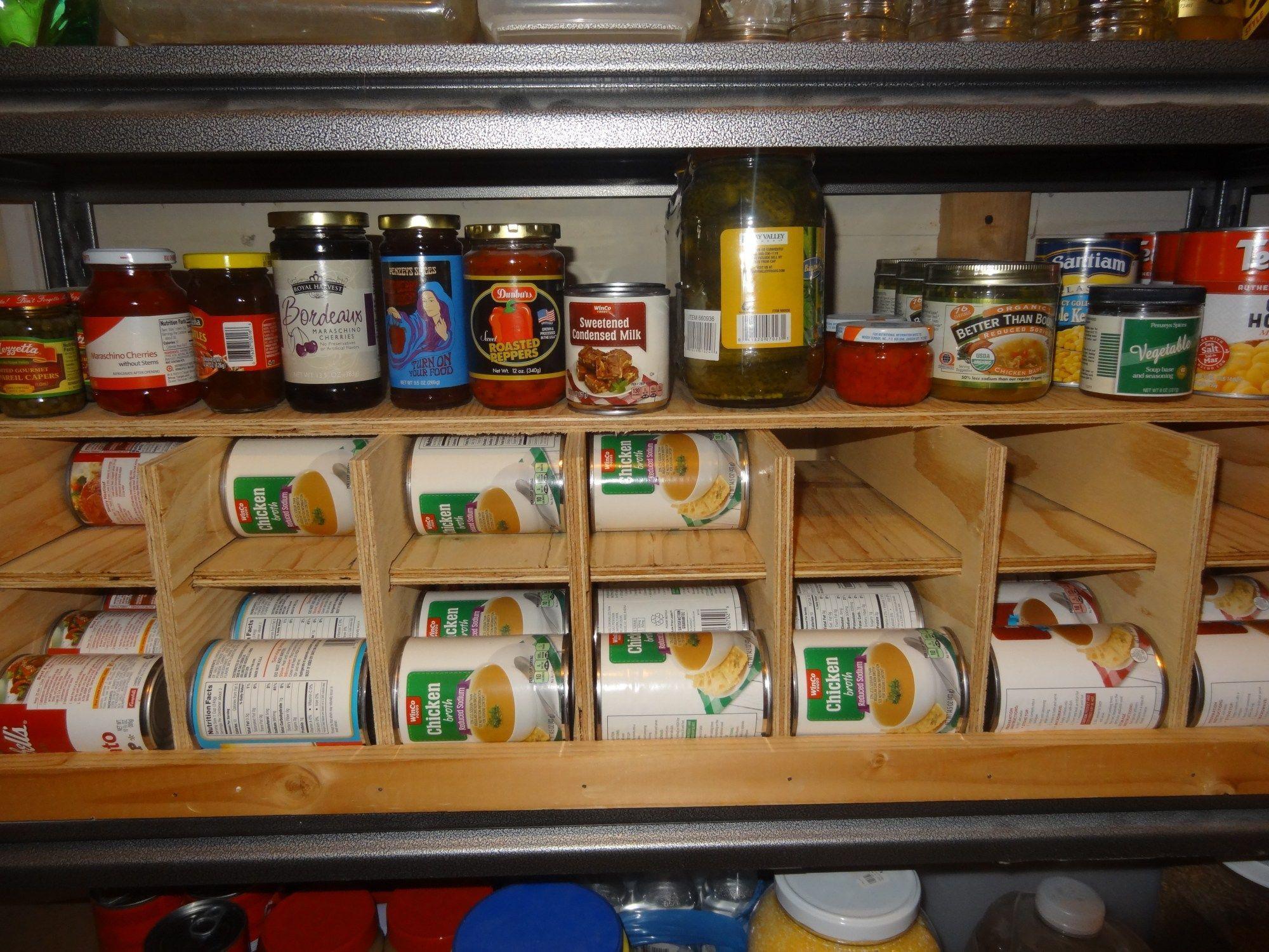 Diy fifo canned food storage rackcanned diy fifo food