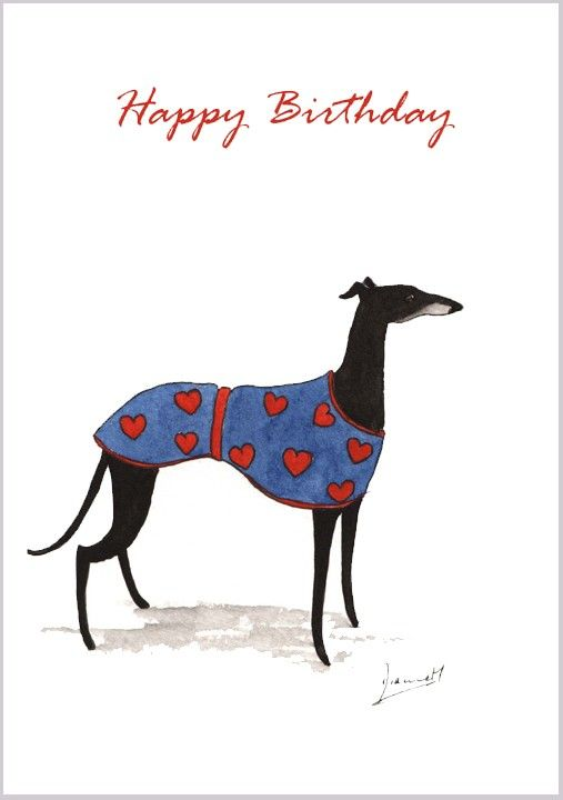 GREYHOUND DOG BIRTHDAY GREETINGS NOTE CARD