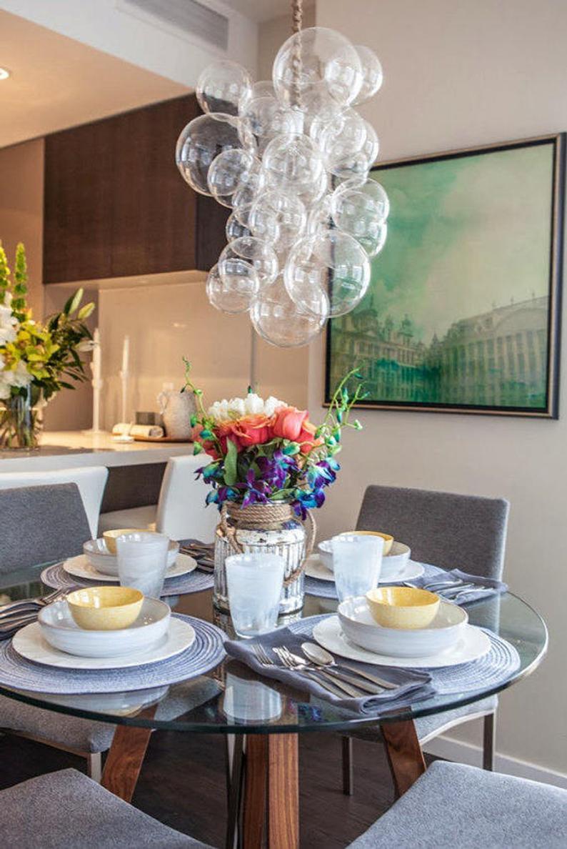 The Waterfall Bubble Chandelier 20 Tall Custom Cord Etsy In 2020 Bubble Chandelier Dining Room Chandelier Bubble Lights