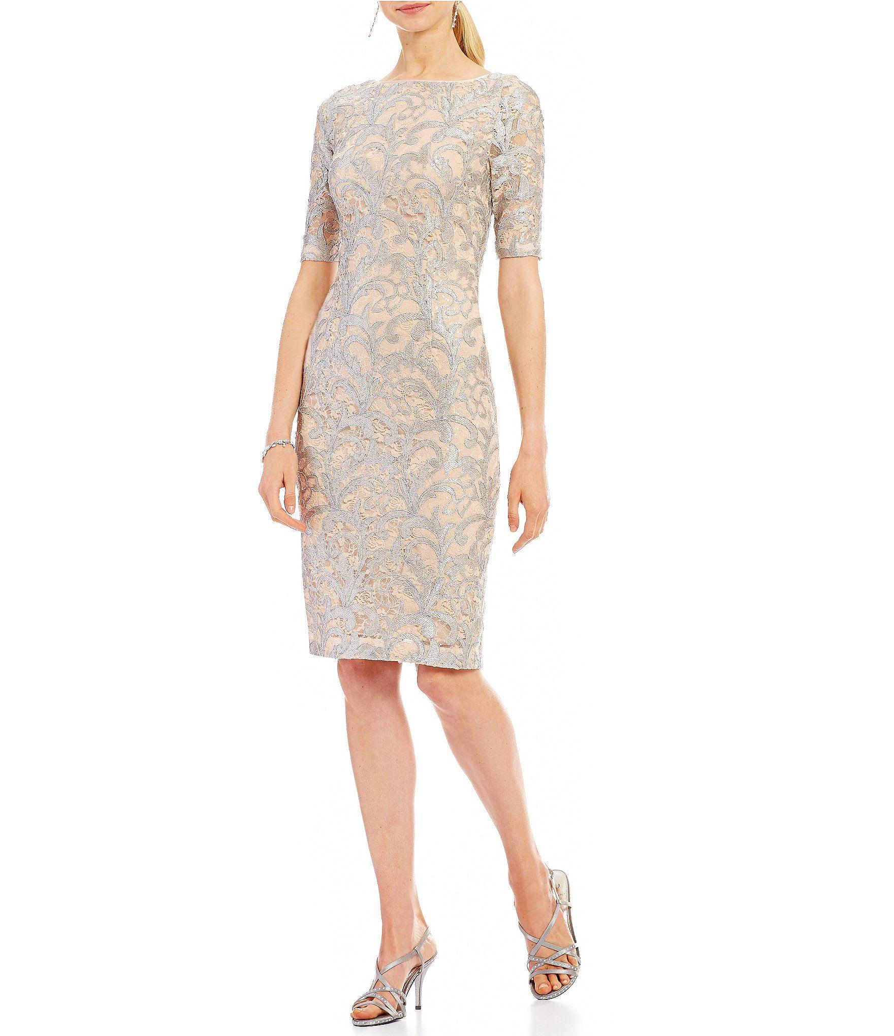 Shop for Eliza J Metallic Scroll Lace Midi Sheath Dress at Dillards ...