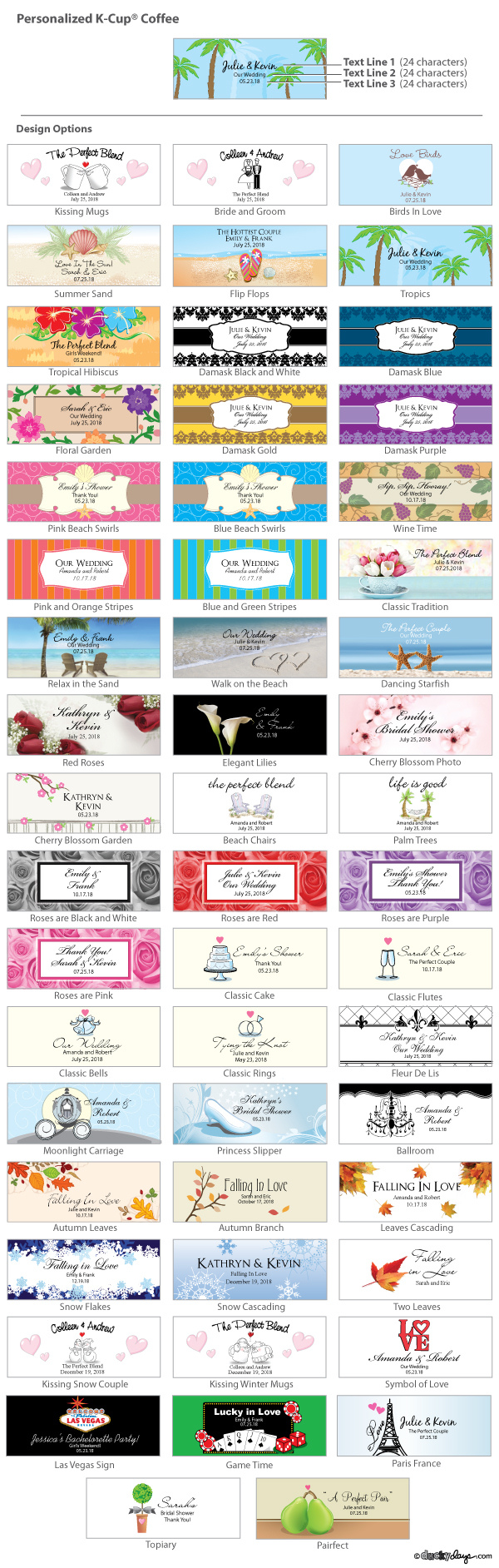 Personalized Wedding K-Cup Coffee Favors (Many Designs) (Designing ...