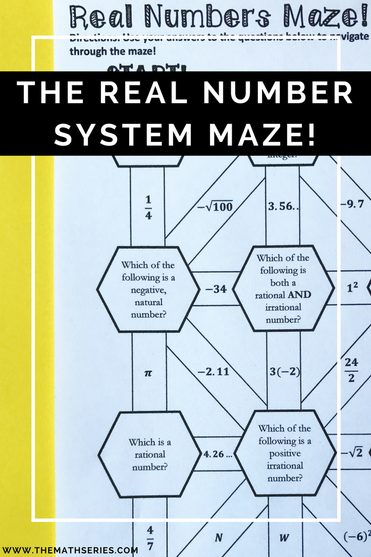 The Real Number System Maze & Graphic Organizer Sort