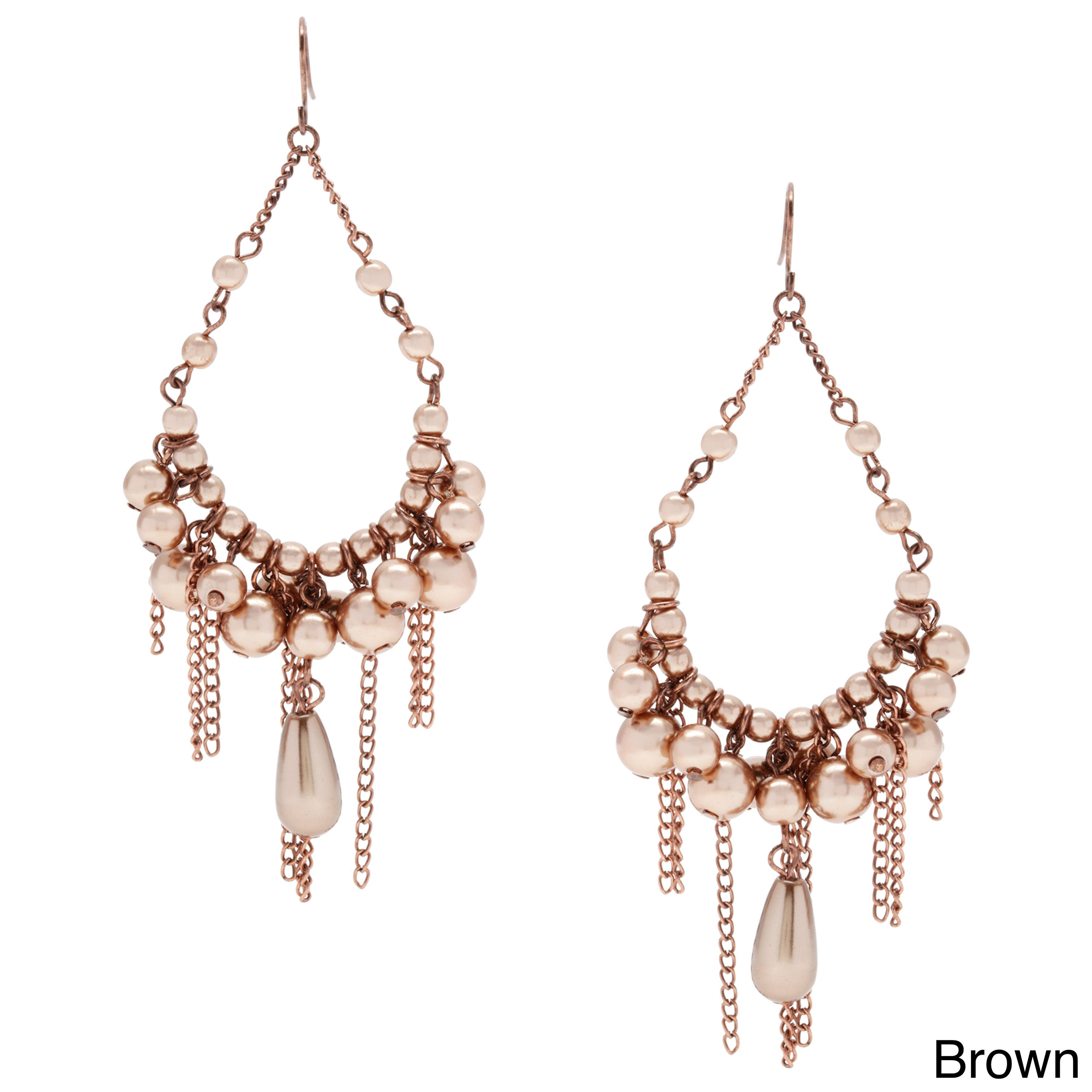 Featuring a classic chandelier shape embellished with colored faux featuring a classic chandelier shape embellished with colored faux pearl beads these earrings are simply arubaitofo Choice Image