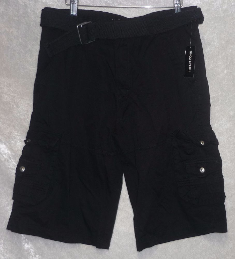 Rebel & Soul trend zone young men's cargo shorts belted black size ...