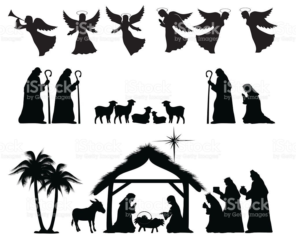 Christmas Nativity Silhouette. ZIP contains AI format, PDF and jpeg ...