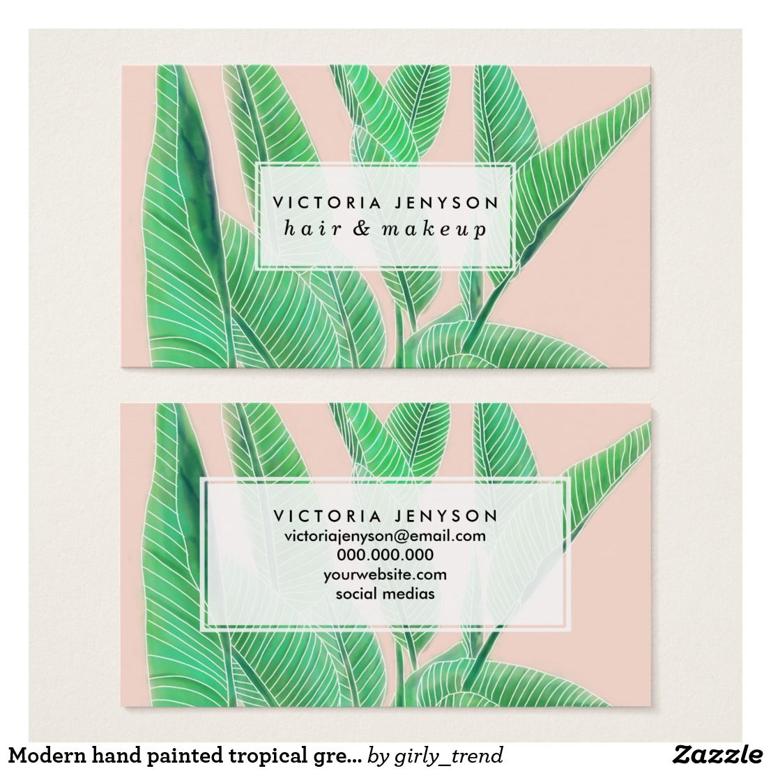 Modern hand painted tropical green watercolor leaf business card ...