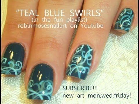 Teal Filigree Homecoming dance nail art