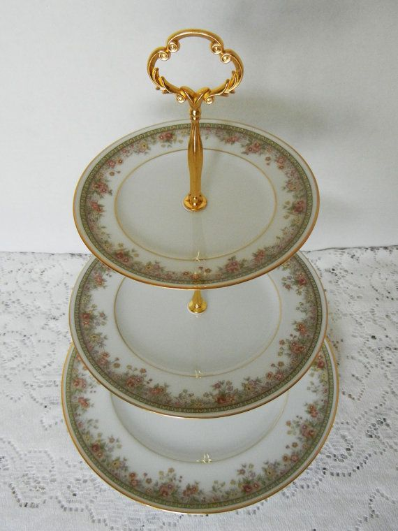 Vintage Cake Stand, Noritake Morning Jewel, Made in Ireland, Cake Tray, Appetizer Tray, Dessert Stand, Tiered Server, Pattern 2767
