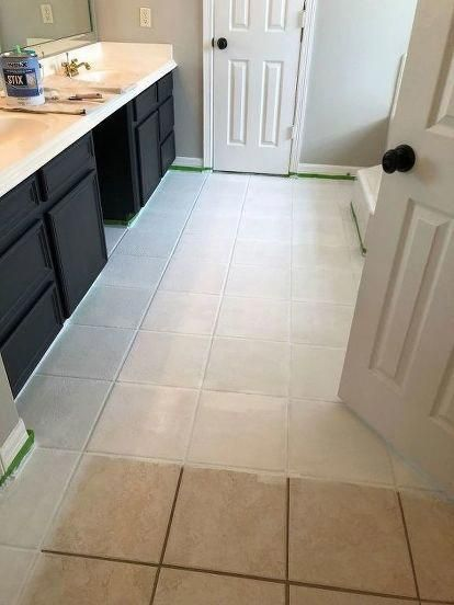 Pin By Thembeka Mthethwa On Diy Cupboards Painted Kitchen Floors Tile Refinishing Tile Floor Diy