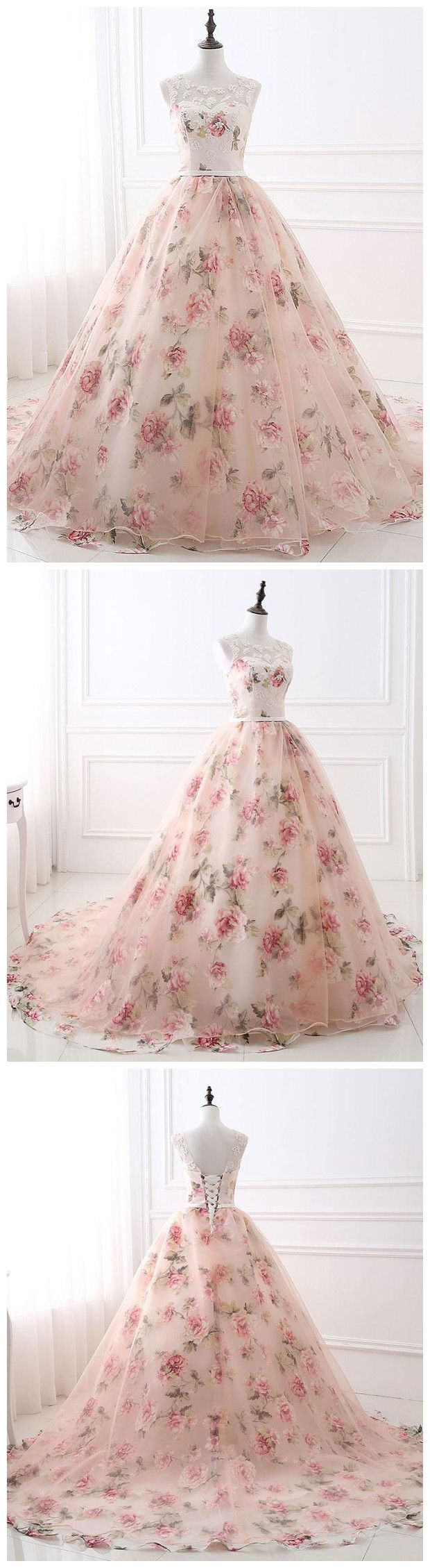 Chic ball gowns prom dresses long pearl pink flower prom dress