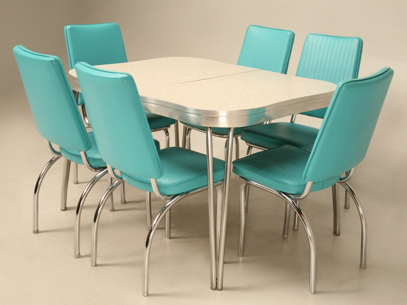 Chrome Brushed Aluminium Vinyl And Formica Retro Dinette Set