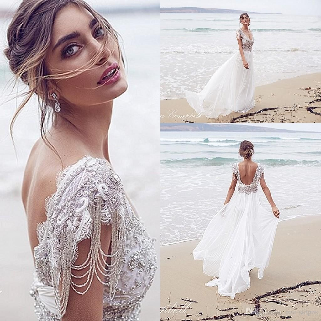 A Line Wedding 2016 New Arrival Cheap Anna Campbell A Line Wedding Dresses  V Neck Crystal