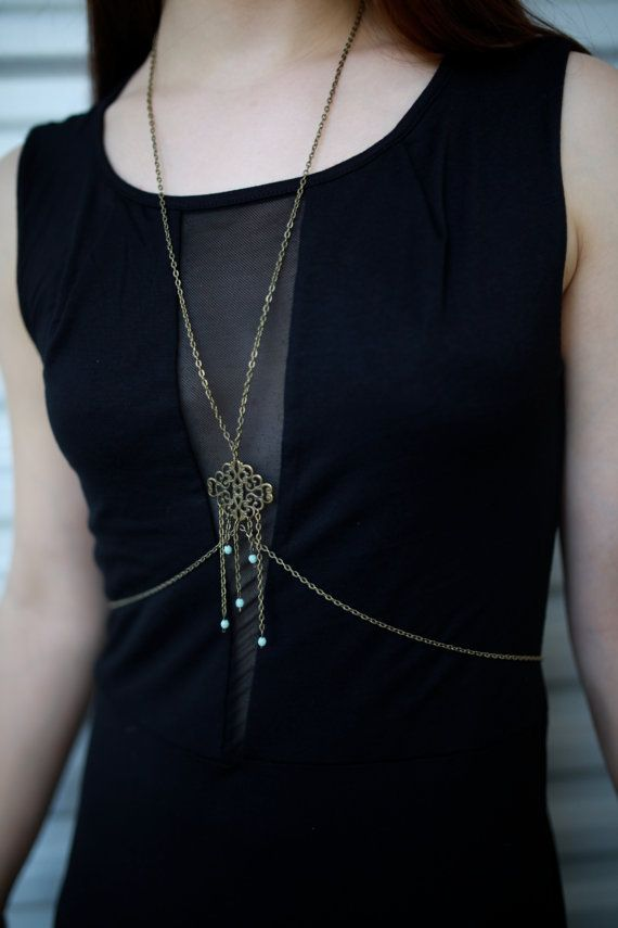 New Vintage Inspired Body Chain Statement  by AidenModernVintage