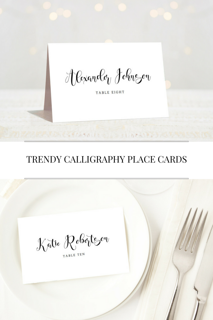 Calligraphy wedding place cards are extremely trendy at the moment ...