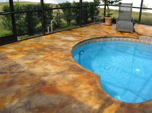 Stained Concrete And Heart Shaped Pool Awesome Concrete Pool Painted Pool Deck Cement Design