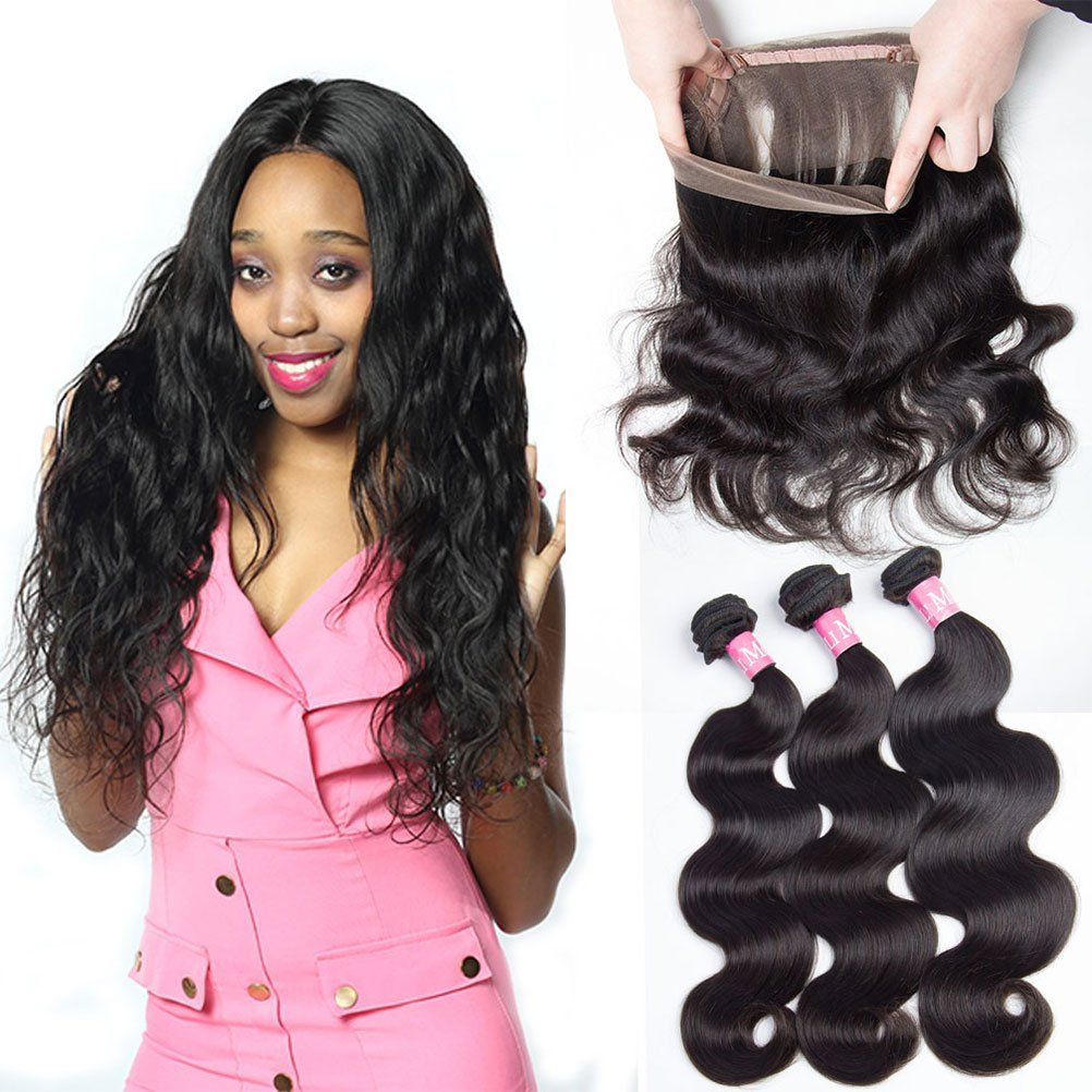 360 Lace Frontal Closure With Bundles Brazilian Virgin Hair Body