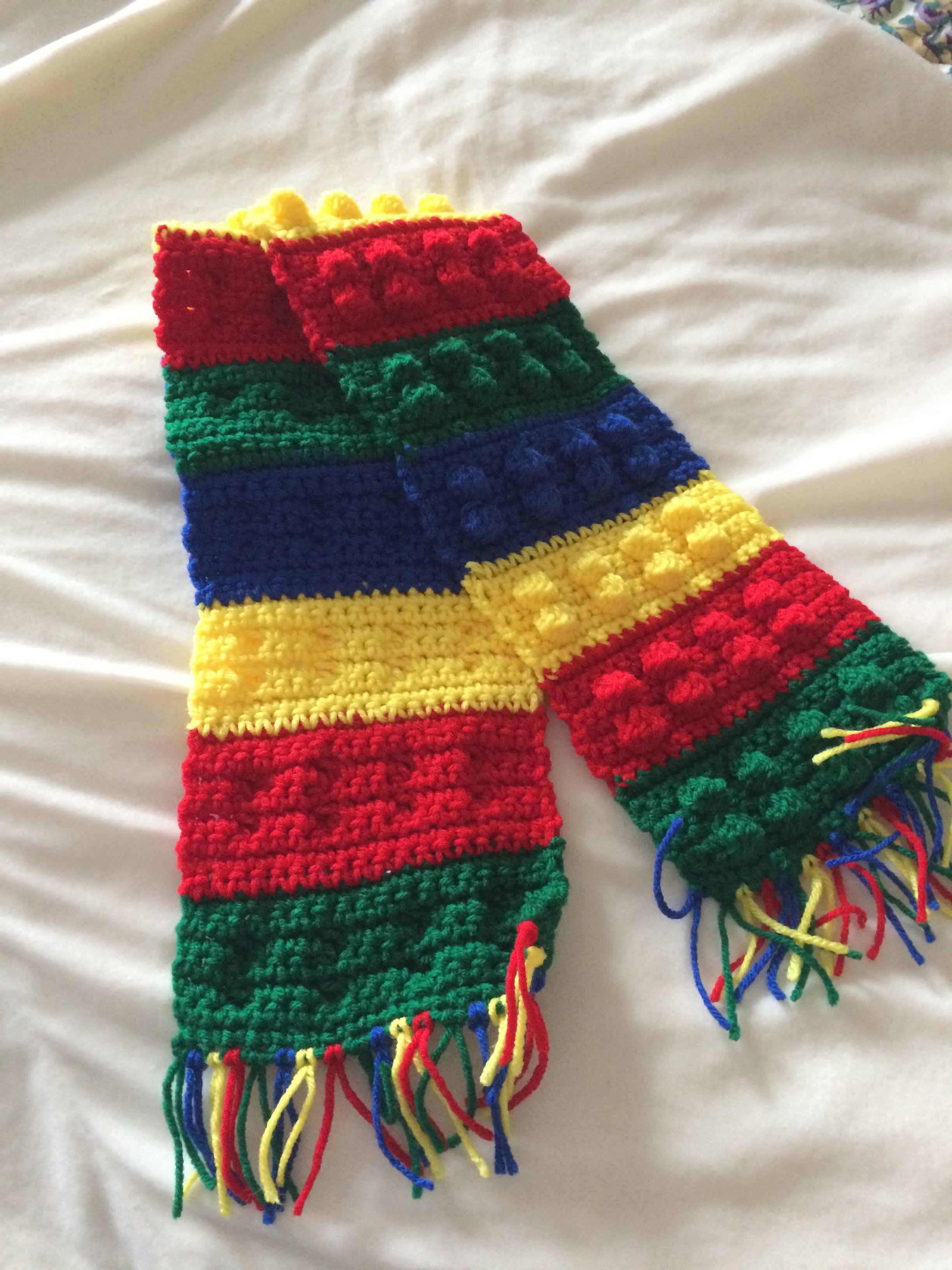 Lego scarf-crochet, popcorn stitch   Things I Have Made   Pinterest ...
