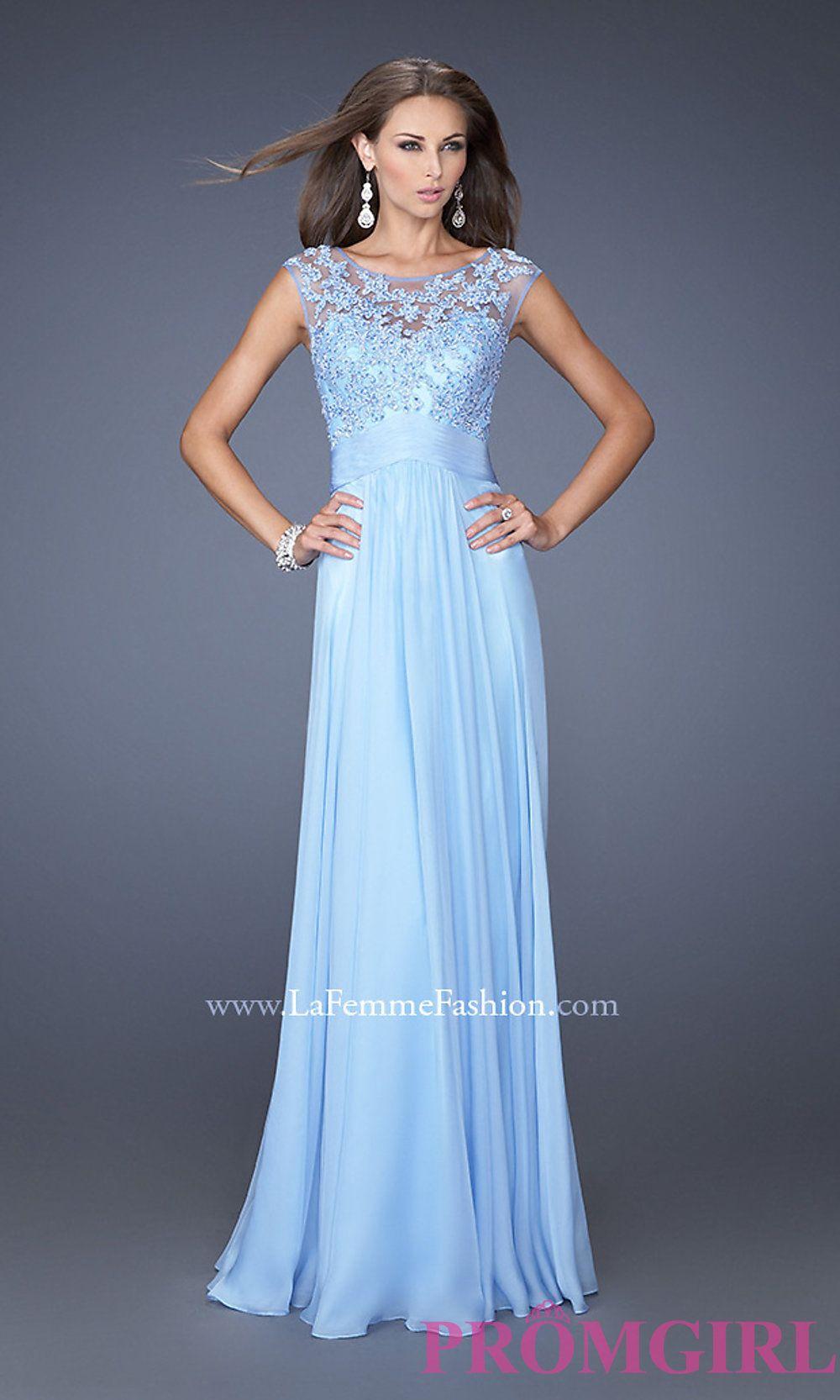 High Neck Long Blue Prom Dresses, La Femme Blue Gowns - PromGirl ...