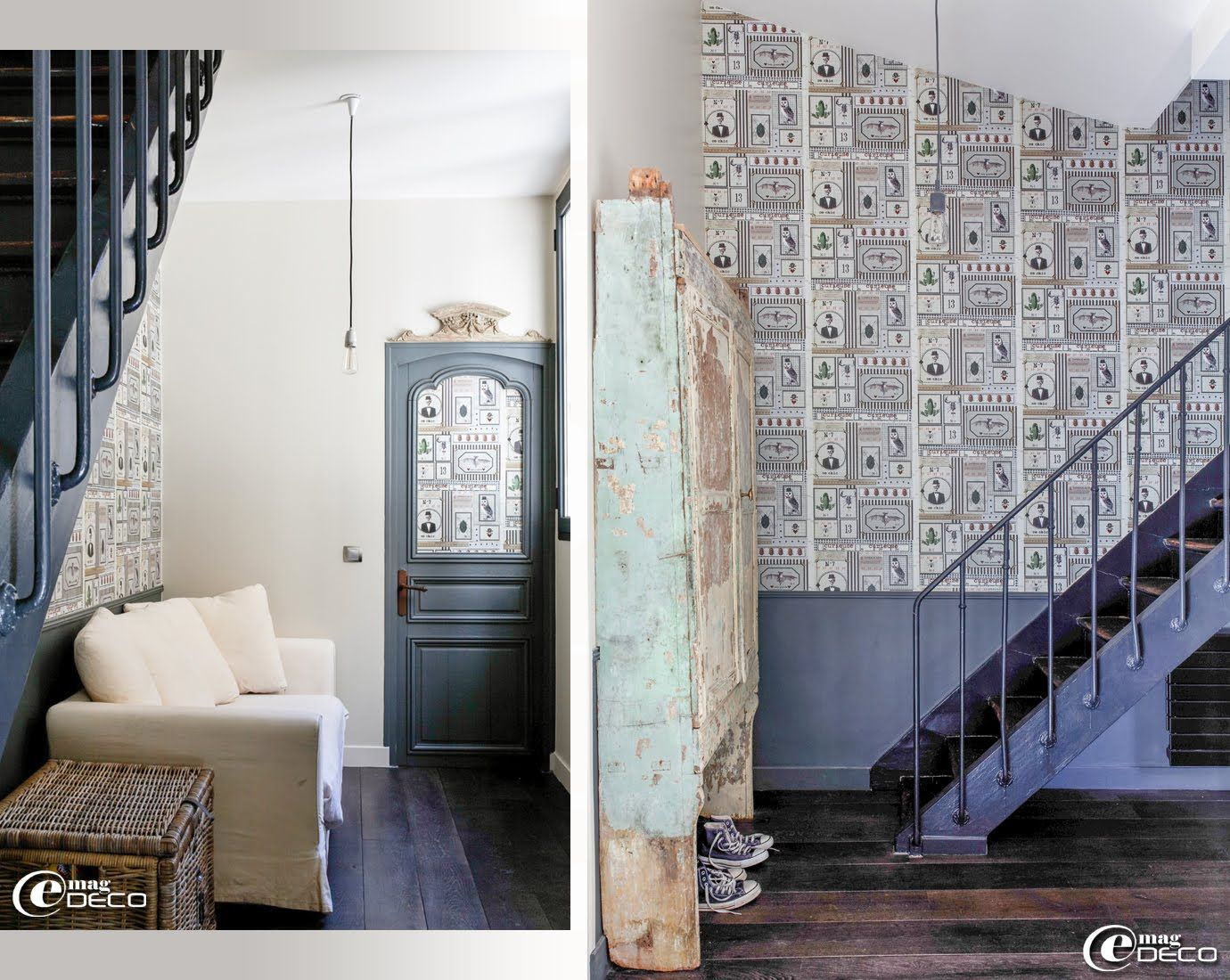 e magdeco magazine de d coration un loft parisien lov autour d 39 une cour porte grise et. Black Bedroom Furniture Sets. Home Design Ideas