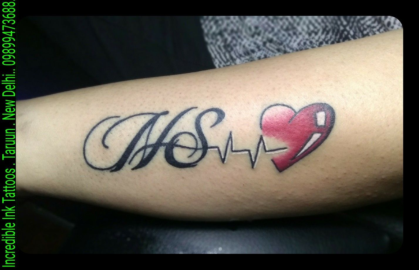 N S HeartBeatTattoo N S Initial Heart Beat Tattoo