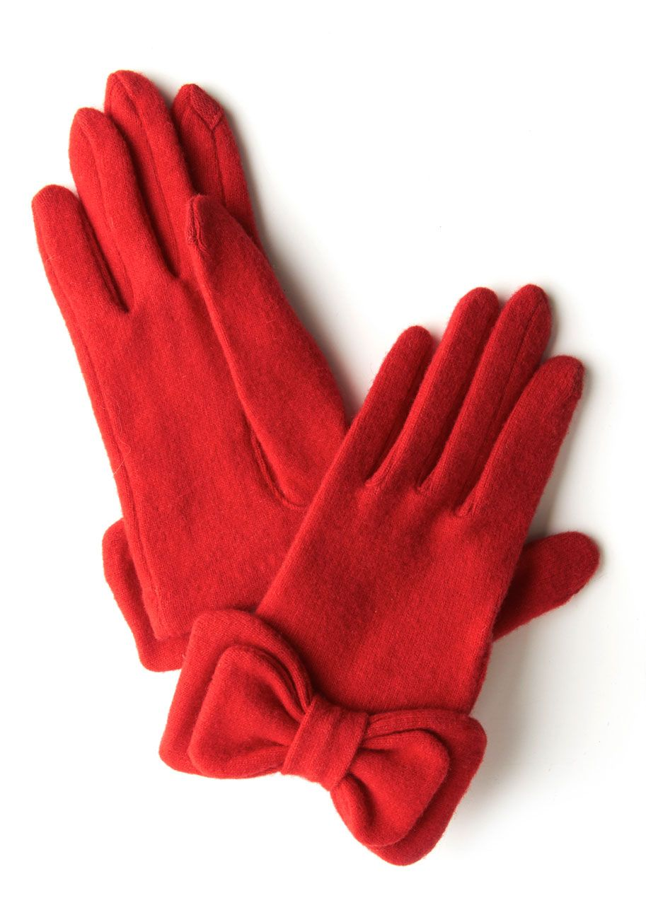 Black gloves with bow - Red
