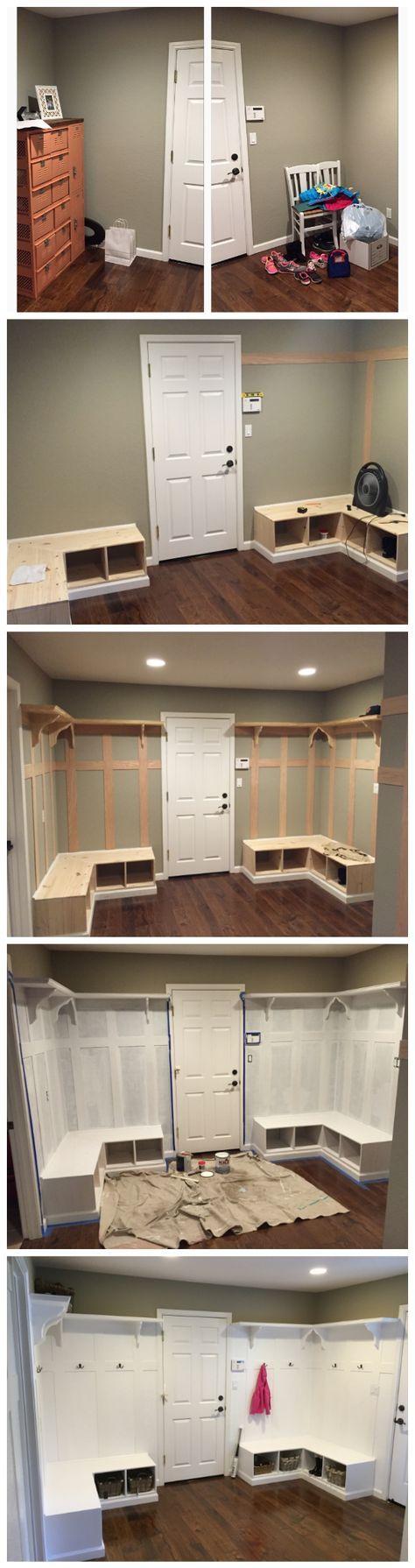Joanna gaines hallway decor  Mud Room Batten Board Bench Corner White Cubbies DYI Fixer