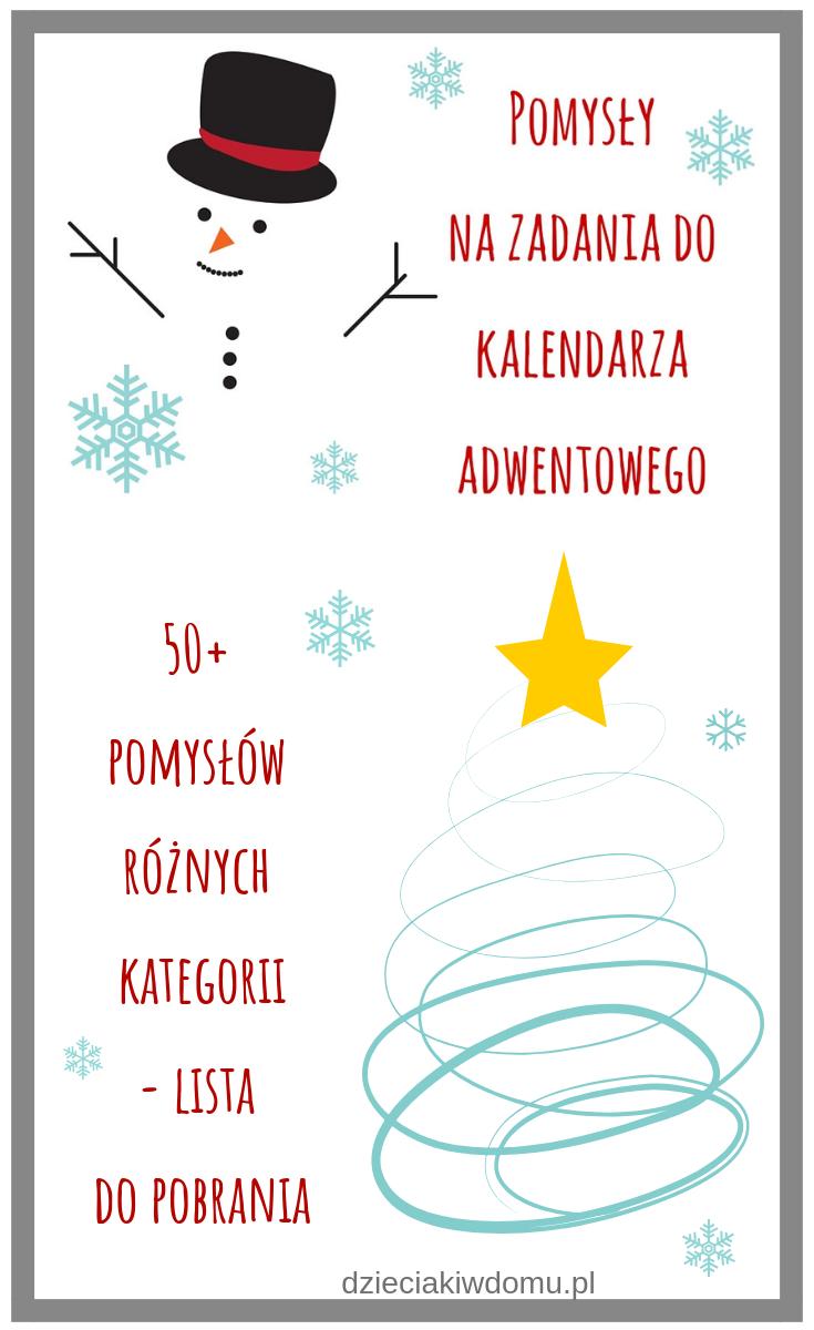 Pomysły na zadania do kalendarza adwentowego Advent