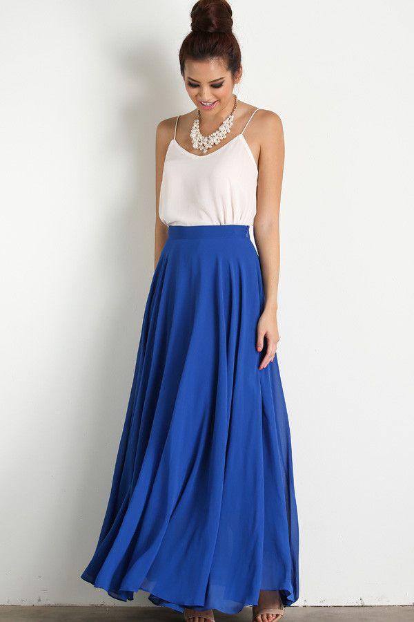 9961d4782 Amelia Full Blue Maxi Skirt | Maxi faldas, Falda y Faldas largas
