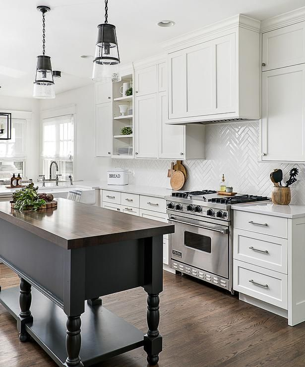 15 Stunning Gray Kitchens With Images: White And Gray Kitchen Features Seeded Glass Conical Light