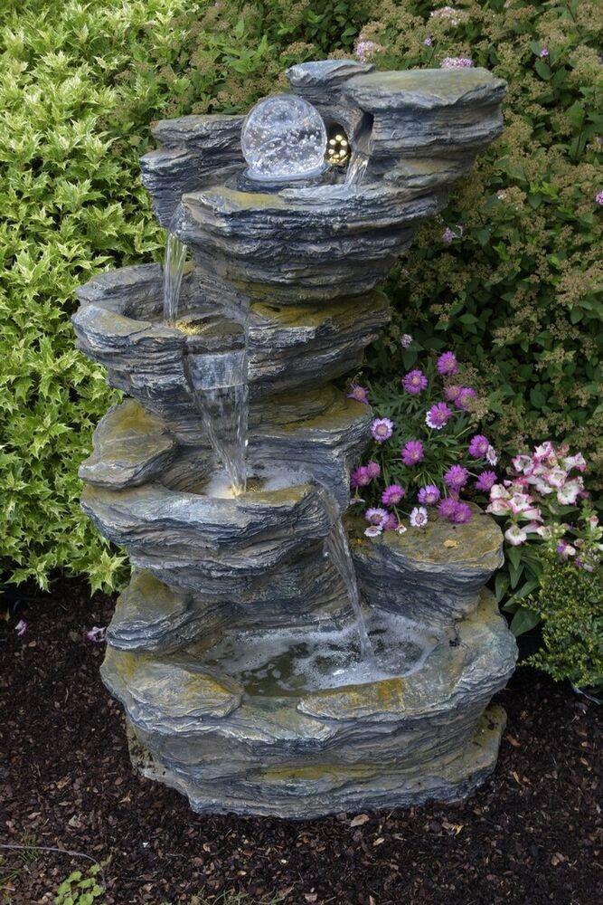 Ebay Sponsored Brunnen Zimmerbrunnen Wasserfall Zierbrunnen Fudong Pumpe Led Glaskugel Zimmerbrunnen Gartenbrunnen Brunnen