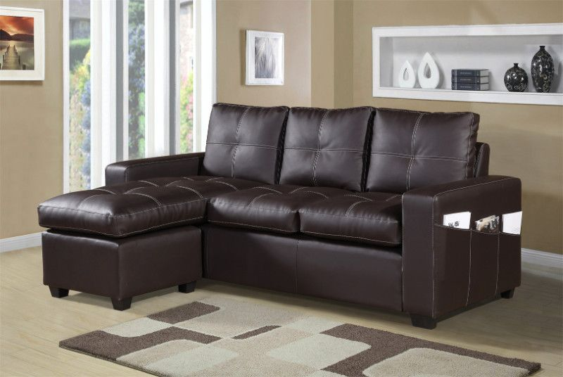 2 Pc Everly Brown Faux Leather Sectional Sofa Set With Reversible