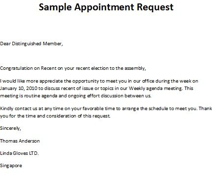 This letter is written by an individual to request an appointment ...