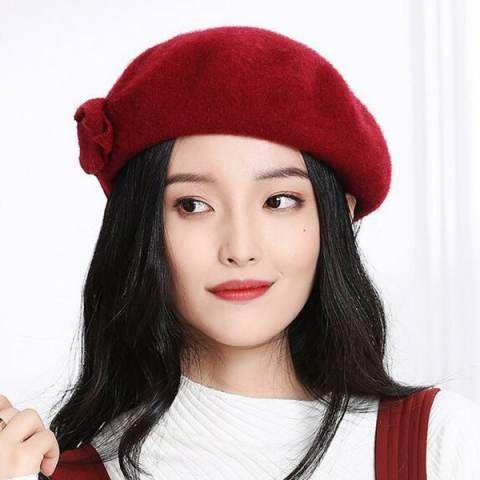 4a483abc714 Double bow wool beret hat for women winter wear