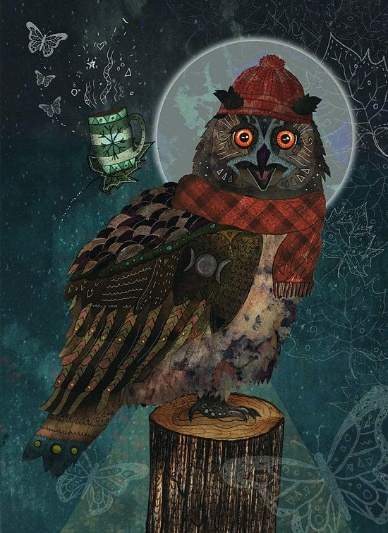 Bubo Bubo  Open Edition Print Owl Illustration by MiaoMiaoDesign / Francesca Rizzato