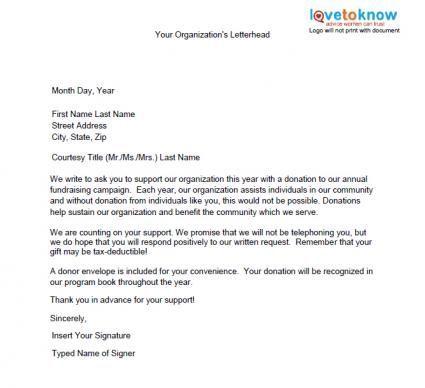 Fundraising Campaign Donation Letter Template  Home Design Idea