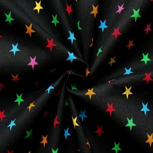 100% Baumwolle bedruckt Sterne mittel Farbe Schwarz - Multicolor 14418