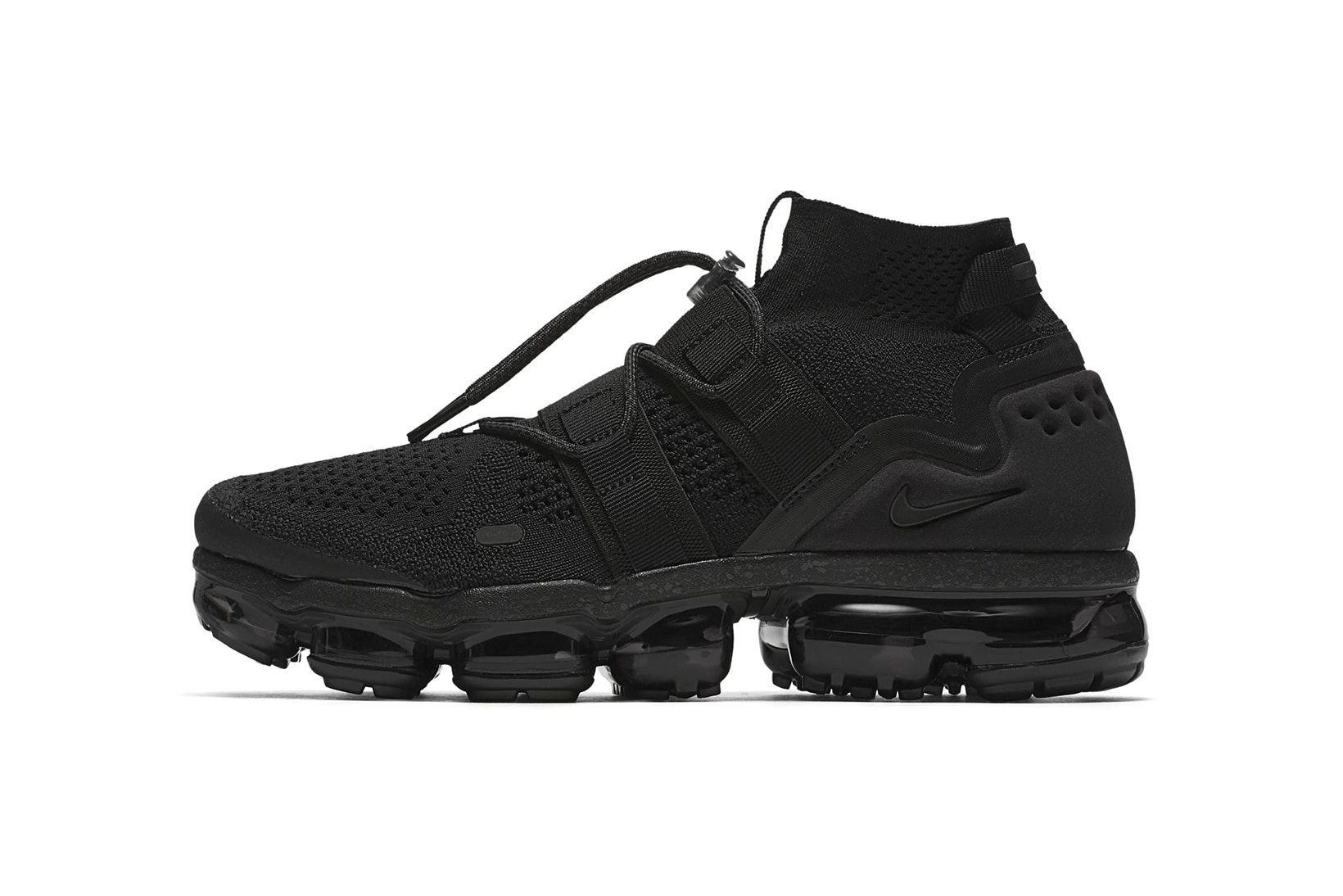 huge discount 757dd eb381 Nike Air VaporMax Flyknit Utility Triple Black 2017 2018 Release Date Info  Sneakers Shoes Footwear
