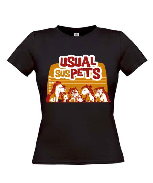 """Damen T-shirt """"Usual sus Pets"""" ♥  Wer kennt noch den Film:-)"""
