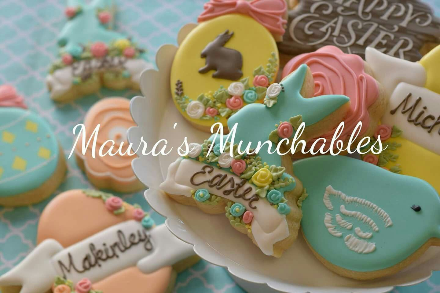 Easter themed decorated cookies