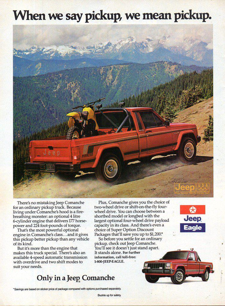 1988 Jeep Comanche Pickup Eagle Chrysler Usa Original Magazine Advertisement Jeep Comanche Comanche Jeep