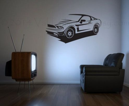 Mustang sports car vinyl wall decal wall sticker by ValdonImages $30.00