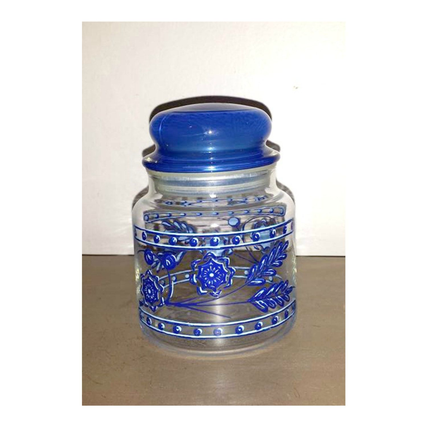Vintage Blue Floral Apothecary Jar,Blue Cased Glass Lid,Blue Glass Flower